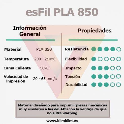 Cacterísticas PLA850 3Dfils